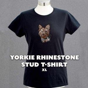 Yorkie Rhinestone Stud Tee
